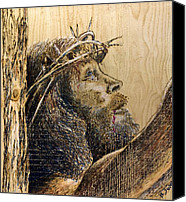 Wood Pyrography Canvas Prints - The Sacrifice Canvas Print by Richard Jules