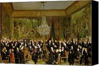 Discussion Canvas Prints - The Salon of Alfred Emilien at the Louvre Canvas Print by Francois Auguste Biard