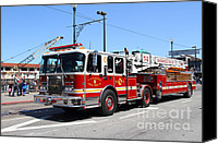 Fire Fighter Canvas Prints - The San Francisco Fire Department Fire Engine At Fishermans Wharf . 7D14207 Canvas Print by Wingsdomain Art and Photography