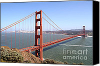 Art Deco Canvas Prints - The San Francisco Golden Gate Bridge . 7D14507 Canvas Print by Wingsdomain Art and Photography