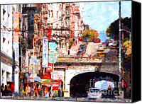 Hotels Digital Art Canvas Prints - The San Francisco Stockton Street Tunnel . 7D7355 Canvas Print by Wingsdomain Art and Photography