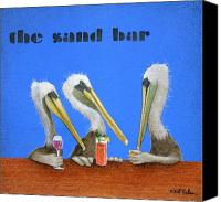 Bars Painting Canvas Prints - The Sand Bar... Canvas Print by Will Bullas