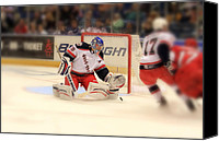 Hockey Goalie Canvas Prints - The Save Canvas Print by Karol  Livote