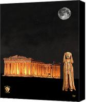 Greek Sculpture Canvas Prints - The Scream World Tour Athens Canvas Print by Eric Kempson