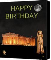 Greek Sculpture Canvas Prints - The Scream World Tour Athens Happy Birthday Canvas Print by Eric Kempson
