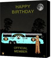 Greek Sculpture Canvas Prints - The Scream World Tour Football tour bus Happy Birthday Canvas Print by Eric Kempson