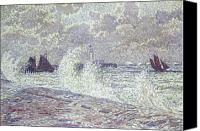 Storm Painting Canvas Prints - The Sea during Equinox Boulogne-sur-Mer Canvas Print by Theo van Rysselberghe