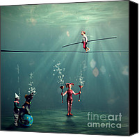Acrobats Canvas Prints - The Secret Venetian Circus Canvas Print by Martine Roch