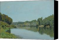 Bougival Canvas Prints - The Seine at Bougival Canvas Print by Alfred Sisley