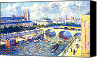 Architecture Painting Canvas Prints - The Seine Paris Canvas Print by Maximilien Luce