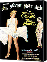 1955 Movies Canvas Prints - The Seven Year Itch, The, Marilyn Canvas Print by Everett