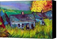 Indiana Autumn Drawings Canvas Prints - The Shack Canvas Print by Mindy Newman