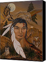 Hawk Spirit Art Canvas Prints - The Shaman Canvas Print by Jeanette Sacco-Belli
