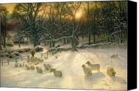 Winter Canvas Prints - The Shortening Winters Day is Near a Close Canvas Print by Joseph Farquharson