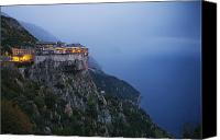 Religious Structures Canvas Prints - The Simonos Petras Monastery 800 Feet Canvas Print by Travis Dove