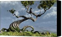 Whimsical Canvas Prints - The Sitting Tree Canvas Print by Cynthia Decker