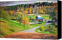 Vermont Autumn Foliage Canvas Prints - The Sleepy Hollow Farm of Pomfret Canvas Print by Thomas Schoeller