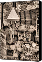 Red Tractors Canvas Prints - The Slow Mover BW Canvas Print by JC Findley