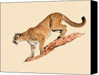 Mountain Lion Digital Art Canvas Prints - The Sneaky Approach Canvas Print by Dewain Maney