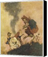 Fantasy Painting Canvas Prints - The Snow Queen Canvas Print by Edmund Dulac
