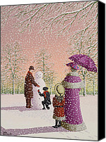 Snowy Trees Painting Canvas Prints - The Snowman Canvas Print by Peter Szumowski