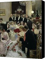 High Society Canvas Prints - The Soiree Canvas Print by Jean Beraud