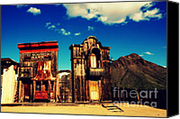 Tv Set Canvas Prints - The Sombrero Bank in Old Tuscon Arizona Canvas Print by Susanne Van Hulst