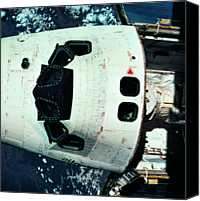 Challenge Canvas Prints - The Space Shuttle Orbiting Above The Earth Canvas Print by Stockbyte
