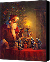 Claus Canvas Prints - The Spirit of Christmas Canvas Print by Greg Olsen