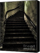 Creepy Canvas Prints - The Stairwell Canvas Print by Cheryl Young