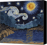 Impressionism Tapestries - Textiles Canvas Prints - The Starry Night at Barton Springs Canvas Print by Barbara Lugge