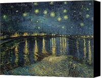 Starry Painting Canvas Prints - The Starry Night Canvas Print by Vincent Van Gogh
