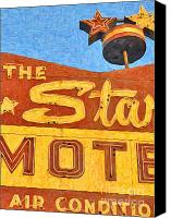 Hotels Digital Art Canvas Prints - The Stars Motel Canvas Print by Wingsdomain Art and Photography
