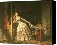 Engagement Canvas Prints - The Stolen Kiss Canvas Print by Jean-Honore Fragonard
