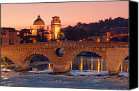 Cities Pyrography Canvas Prints - The Stone Bridge in Verona   Il Ponte di Pietra a Verona Canvas Print by Andrea Franchi