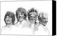 The Rolling Stones Canvas Prints - THE STONES Drawing Canvas Print by Michael Essex