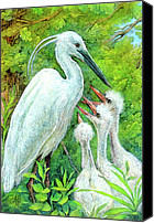 Bright Painting Special Promotions - The Stork - a Symbol of Childbirth Canvas Print by Natalie Berman
