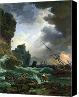 Setting Painting Canvas Prints - The Storm Canvas Print by Claude Joseph Vernet