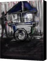 City Scape Digital Art Canvas Prints - The Street Vendor Canvas Print by Russell Pierce