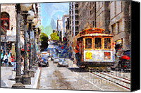 Powell Street Digital Art Canvas Prints - The Streets of San Francisco . 7D7263 Canvas Print by Wingsdomain Art and Photography
