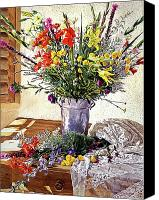 Arrangement Painting Canvas Prints - The Summer Room Canvas Print by David Lloyd Glover
