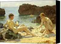 Naked Painting Canvas Prints - The Sun Bathers Canvas Print by Henry Scott Tuke