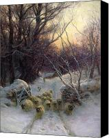 Setting Painting Canvas Prints - The Sun had closed the Winter Day Canvas Print by Joseph Farquharson