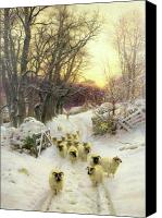 Stone Wall Canvas Prints - The Sun Had Closed the Winters Day  Canvas Print by Joseph Farquharson