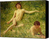 Carefree Canvas Prints - The Sunbathers Canvas Print by Henry Scott Tuke