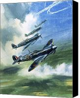 Airplane Painting Canvas Prints - The Supermarine Spitfire Mark IX Canvas Print by Wilfred Hardy