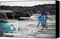 Vw Camper Van Digital Art Canvas Prints - The Surf Scene Canvas Print by Paul Howarth