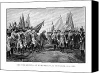 Founding Father Drawings Canvas Prints - The Surrender Of Cornwallis At Yorktown Canvas Print by War Is Hell Store