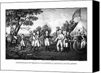Historical Drawings Canvas Prints - The Surrender of General Burgoyne Canvas Print by War Is Hell Store