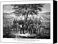United States Drawings Canvas Prints - The Surrender Of General Lee  Canvas Print by War Is Hell Store
